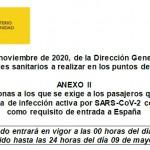 Comunicado 072/2021: Actualización Anexo II Países o Zonas de Riesgo para el control sanitario entrada a España | Del 26 de abril a 9 de mayo