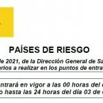 Comunicado 139/2021: Actualización Anexo II Países o Zonas de Riesgo para el control sanitario entrada a España | Del 27 de septiembre al 03 de octubre de 2021