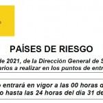 Comunicado 146/2021: Actualización Anexo II Países o Zonas de Riesgo para el control sanitario entrada a España | Del 25 de octubre al 31 de octubre de 2021